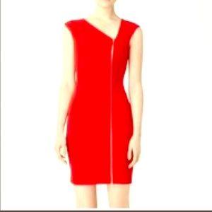 💃 Calvin Klein Asymmetrical Zipper Dress in Red